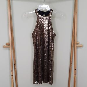 Brown sequins no sleeves dress.
